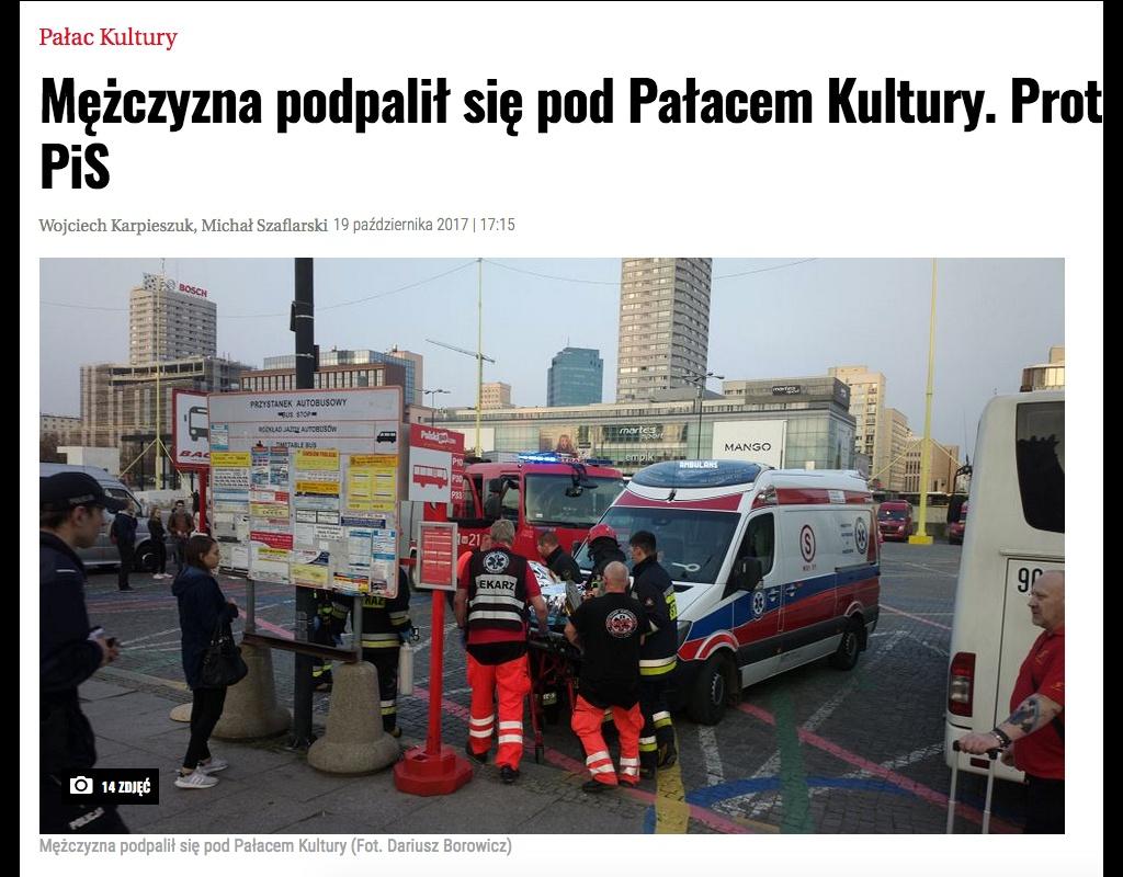 ostpol.de - n-ost - Selbstverbrennung in Warschau - Schreiben deutet auf Protest gegen Nationalkonservativen hin