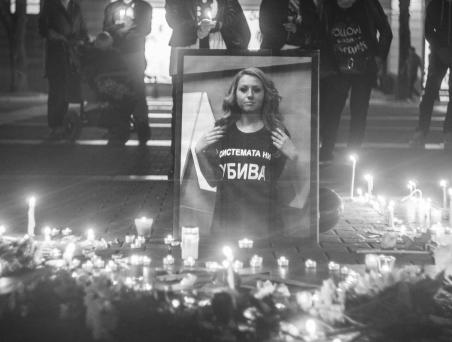 Commemoration of Viktoria Marinova the day after her violent death. / Source: KlinKlin.bg